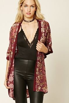 Forever 21 Contemporary - A woven kimono featuring a velvet floral print, an open front, short dropped sleeves, and a chiffon trim.