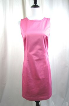 Brooks Brothers 346 Pink Shift Dress Size 6 Sleeveless Cotton Career Excellent #BrooksBrothers #Shift #WeartoWork