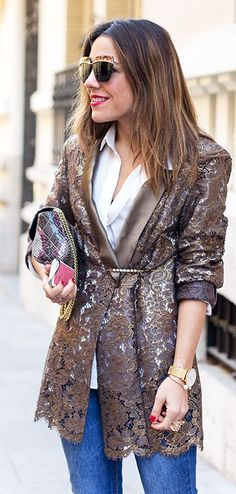 Gold Lace Jacket by Peeptoes