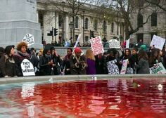 """""""Many people don't realise that cuts to local councils equate to cuts to domestic violence support services,"""" Sisters Uncut member Ama Roberts said following the fountain demonstration."""