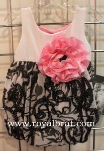 Black and White Bubble Romper with Pink Flower by Cach Cach