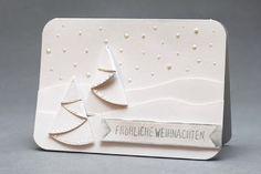 handmade card ... white one white ... winter scene ... folded trees ... horizon lines ... embossing folder dots ... a bit of glitter ... lovely!!