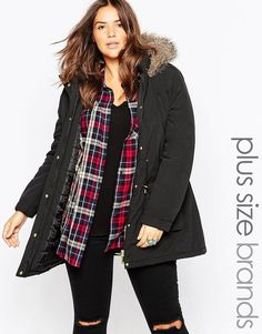 Plus Size Parka With Faux Fur Hood