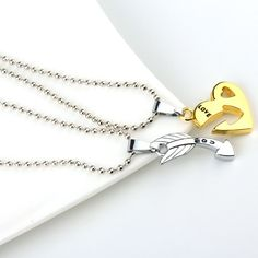 bc21ccb73c Couple Jewelry – Love Heart Arrow Pendant Necklaces 2 pcs set | FREE  Worldwide Shipping Long