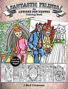 Inspired the photography work of Harry Whittier Frees, Antique Pet Photos are cute and creepy images of animals dressed in Victorian clothing. Frees was know for horrifyingly cute pictures of animals dressed up as people for children's' books. These were the original cat memes before the internet ever existed! *21 Coloring Pages featuring a Fantastic Feline in vintage clothing and scenery.*One original cat illustration per page*From domestic cats to wild big cats*For all ages!*Pages are… Animals Images, Animal Pictures, Cute Pictures, Crazy Cat Lady, Crazy Cats, Big Cats, Cat Lover Gifts, Cat Lovers, J Birds