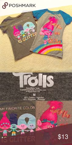 M Very lightly worn girls Trolls tee shirts Dreamworks Shirts & Tops Tees - Short Sleeve Day List, Trolls Birthday Party, Tee Shirts, Tees, Dreamworks, Favorite Color, It Works, Kids Shop, Sleeve