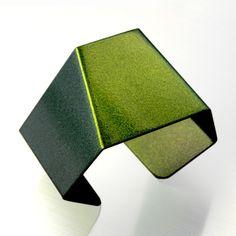 2021 Geometric Large Aluminum Cuff Bracelet Green Gold  by arosha