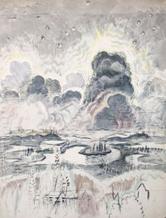 Charles E. Burchfield, Landscape with Grey Clouds (Heat Lightning), 1962, watercolor, charcoal, and white chalk on  joined paper