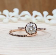 Items similar to Moissanite Wedding Ring Set, Rose Gold Round Half Eternity Diamond Band, Engagement Ring Set on Etsy Rose Gold Promise Ring, Rose Gold Diamond Ring, Gold Diamond Wedding Band, Shop Engagement Rings, Rose Gold Engagement Ring, Vintage Engagement Rings, Moissanite Wedding Rings, Rings For Her, Bridal Ring Sets