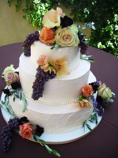 Splendid Fruit Covered Wedding Cake