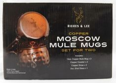 Copper Moscow Mule Mugs Set for 2 Riches Lee New Coaster Straw Shot Glass #Coaster