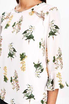 Petite Botanical Floral Flute Sleeve Top - View All Petite Clothing - Petite - Wallis
