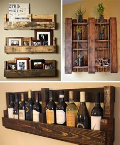 Use some pallet boards to have a very arresting setup for displaying pictures, or an area to place those small plants, or even storing those wine bottles.  Hanging them on any blank wall makes a great attractive wall art to compliment the home.