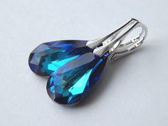 Bermuda Blue Sterling Silver Dangle Earrings, Swarovski Crystal Tear Drop Earrings, Wedding Jewelry, Holiday Gift