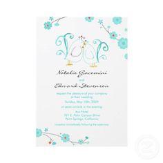 Tiffany Blue Lovebirds & Blossoms Invitations by paisleyinparis