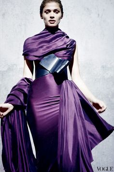 Luv to Look | Luxury Fashion & Style: Fabulous silky purple dress with oversized belt