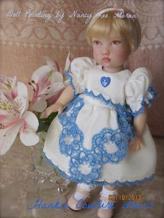Dress by Hankie Couture created from vintage linens for Kish toddler Tatum! Nancy Lee Moran repainted this doll face.
