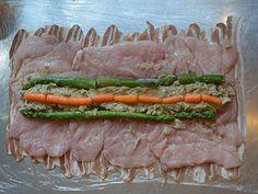 Lépésről-lépésre: így készül a legfinomabb göngyölt csirkemell | Mindmegette.hu Meat Recipes, Asparagus, Bacon, Beef, Vegetables, Food, Meat, Studs, Essen