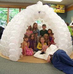 Igloo in the classroom --- I did this when I was a student teacher -- the kids loved it!