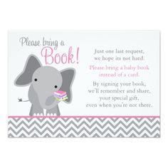 Cute Elephant Chevron Pink Girl Baby Shower Book Card