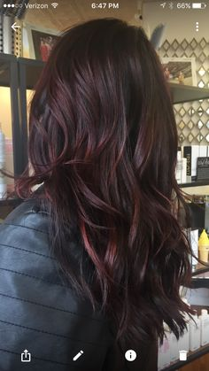 Hair, Hair color, Red balayage hair, Dark auburn h Dark Ombre Hair, Hair Color Dark, Ombre Hair Color, Color Red, Dark Red Balayage, Auburn Balayage, Red Balayage Highlights, Dark Red Ombre, Burgundy Hair Ombre