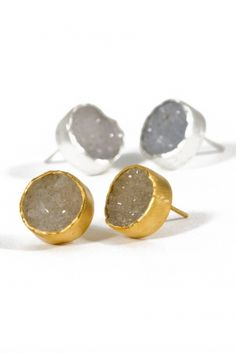 I'm finding myself wearing Mickey Lynn's Druzy bezel set studs (the gold ones) nearly everyday. They make a statement without being so expected.