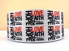Melanoma Awareness - Skin Cancer - Hope Love Faith - Black Ribbon - 1 inch - Printed Grosgrain Ribbon Relay For Life, Hope Love, Awareness Ribbons, Black Ribbon, Grosgrain Ribbon, Cool Things To Buy, Cancer, Faith, Printed