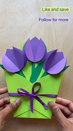 Flower Crafts Kids, Paper Flowers Craft, Paper Crafts Origami, Diy Crafts For Gifts, Paper Crafts For Kids, Preschool Crafts, 3d Paper, Simple Paper Crafts, Back To School Crafts For Kids