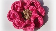 3D crochet flowers multi petals - 1 - YouTube