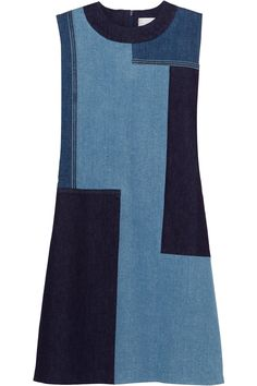 VICTORIA VICTORIA BECKHAM Patchwork Denim Mini Dress. #victoriavictoriabeckham #cloth #dress