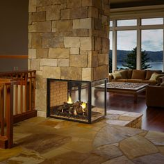 three-sided fire place.  I'd love the fire place larger with rougher stones.  Diggin' the 2 floor heights.