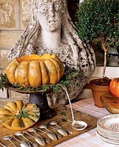 Autumn soup tureen on a cake stand.