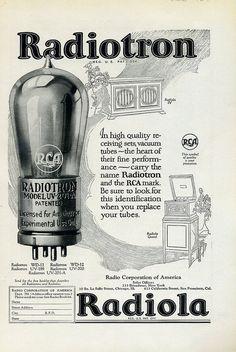 Vintage audio 1924 Radio ad / Radiola ; RCA vacuum tube