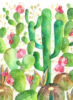 This is a digital print of my cactus watercolor painting. Printed on acid free 216 gr textured paper, 8x11 inches. Shipping from México City.