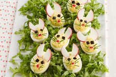 Create these adorable Easy Bunny Deviled Eggs for your next Easter or spring-themed gathering! Enjoy decorating with radishes, olives and chives for the cutest Easy Bunny Deviled Eggs you Easter Appetizers, Recipes Appetizers And Snacks, Snacks Für Party, Vegetable Appetizers, Dinner Recipes, Vegetable Pizza, Easter Dinner, Easter Brunch, Easter Recipes