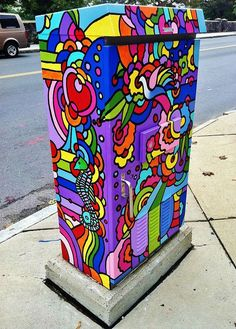 rainbow painted utility box- Every town should do this!