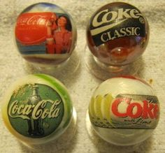4 COCA COLA 1 inch size glass marbles  stands ! | eBay
