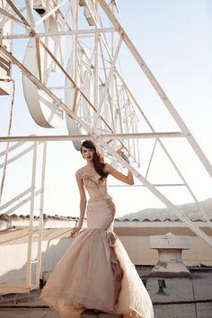 Beige wedding dress with a modern silhouette | Photo by Stephanie WIlliams