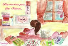 COQUI'S LIFE-Collection _  Moramontti's Illustrations - Getting ready for Valentine's Day. __________________________________  Ilustraciones Moramontti - Preparándome para  San Valentín.
