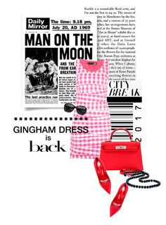 """Check Republic: Gingham Dress"" by lacas ❤ liked on Polyvore featuring Love Moschino, Sergio Rossi, Hermès, Chanel, gingham, redandpink and kellybag"
