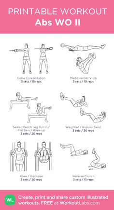 Abs WO II: my visual workout created at Gym Workout Plan For Women, Gym Workouts Women, Fitness Workout For Women, Upper Body Workout For Women, Ab Core Workout, Ab Workout At Home, At Home Workouts, Workout Routines, Workout Ideas