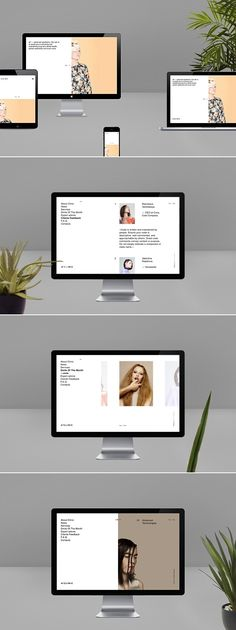 Minimalistic website design, with focus on typographic hierarchy, and clean image composition.