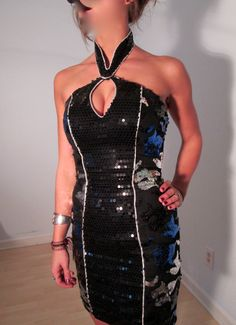 Black & Blue Silver Sequined Dance Party Mini Dress XS Choker Casino Urban Grunge Vintage Club Kid. $54.00, via BohemianSeed on Etsy.