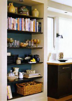 Shelves in Closet instead of doors.