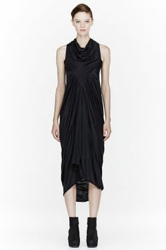 RICK OWENS LILIE S Washed black draping Long Dress
