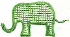 The Elephant Parade - three different prickings for Scandinavian ground, rose ground, and plaited ground Elephant Parade, Bobbin Lace Patterns, Lacemaking, Elephant Pattern, Elephants, Scandinavian, Projects To Try, Crochet Hats, Crafting