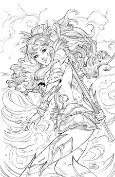 Cover for the 6 issue trade paperback published by big dog ink! Fairy Coloring Pages, Adult Coloring Book Pages, Colouring Pics, Free Coloring Pages, Printable Coloring Pages, Coloring Books, Free Adult Coloring, Colorful Drawings, Fantasy Art