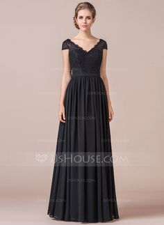 [US$ 127.49] A-Line Cap Sleeve Floor-length Chiffon Bridesmaid Dress With Lace (007056567)