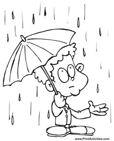 printable spring coloring page rainy season for kids - Coloring Point