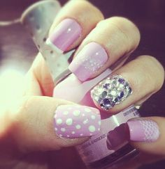 Pink nails with cute design